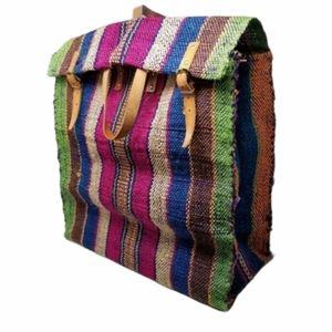 Woven Tote Bag Leather Buckle Multi Color Stripes